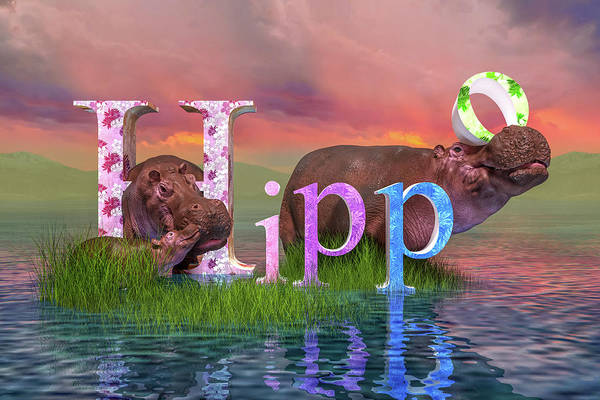 Wall Art - Digital Art - Adorable H For Hippo by Betsy Knapp