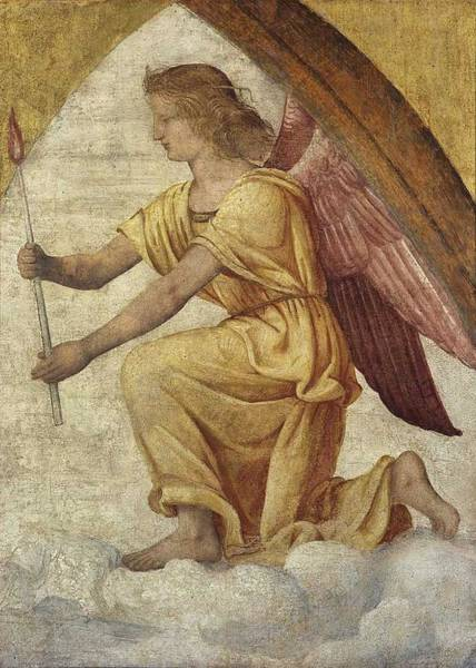 Wall Art - Painting - Adoring Angel , Bernardino Luini by Celestial Images
