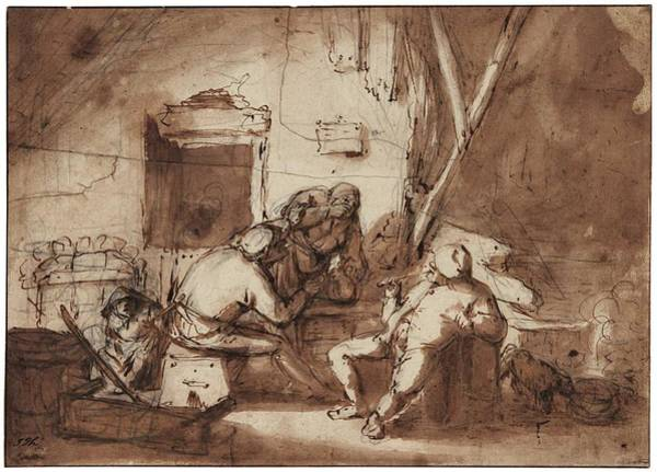 Wall Art - Painting - Adriaen Jansz. Van Ostade Peasants In An Interior by Celestial Images