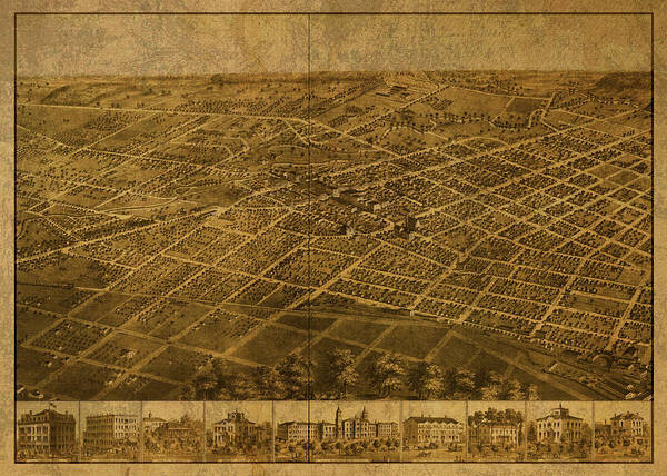 Wall Art - Mixed Media - Adrian Michigan Vintage City Street Map 1866 by Design Turnpike