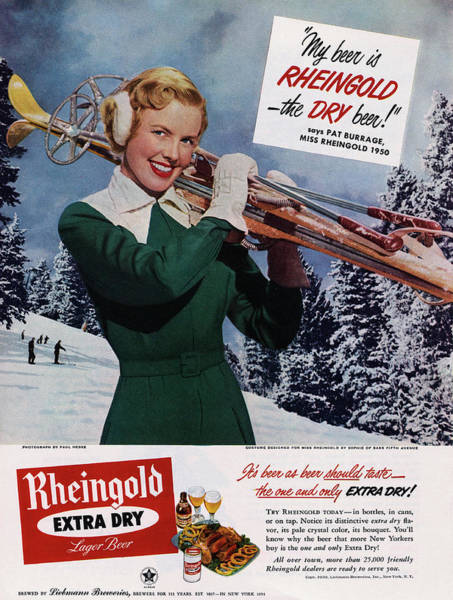 Lager Photograph - Advertisement For Rheingold Beer by Bettmann