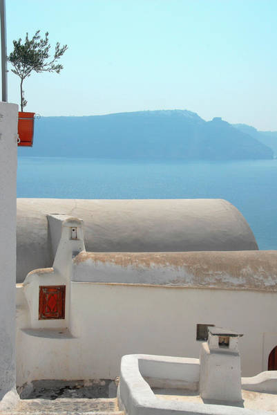 Wall Art - Photograph - Aegean Sea And White Cavas In Oia by Andrea Sperling
