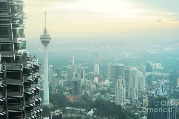 Twin Cities Photograph - Aeial View Of Kuala Lumpur From by Joyfull
