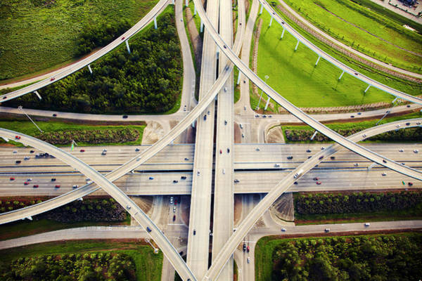 Texas A Photograph - Aeirial View Of Traffic And Overpasses by Thomas Northcut