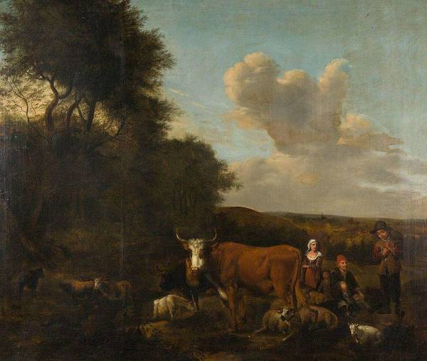 Wall Art - Painting - Aelbert Klomp,  Wide Landscape With Cattle, Sheep And Shepherds, 1675 by Aelbert Klomp