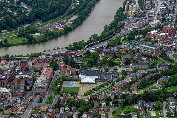 Photograph - Aerial Downtown Campus West Virginia University by Dan Friend