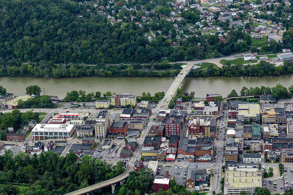 Photograph - Aerial Downtown Morgantown Bridge To Westover  by Dan Friend