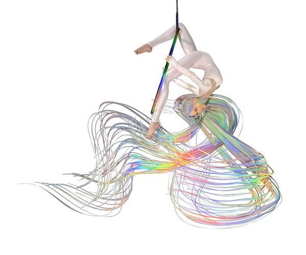 Wall Art - Digital Art - Aerial Hoop Dancing Ribbons For Her Hair Png by Betsy Knapp