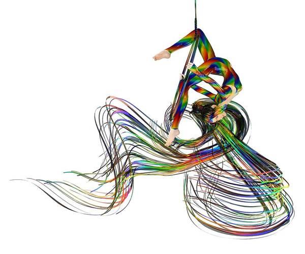 Wall Art - Digital Art - Aerial Hoop Dancing Ribbons Of Hair Png by Betsy Knapp
