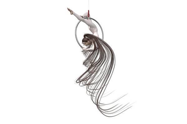 Wall Art - Digital Art - Aerial Hoop Dancing Spiraling by Betsy Knapp
