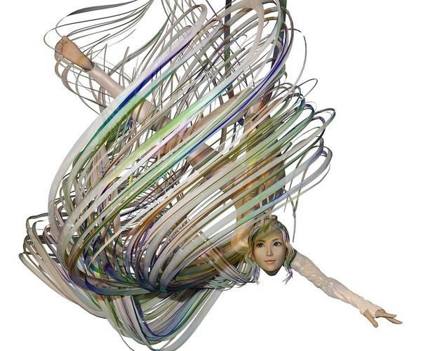 Wall Art - Digital Art - Aerial Hoop Dancing Whirlwind Of Hair Png by Betsy Knapp