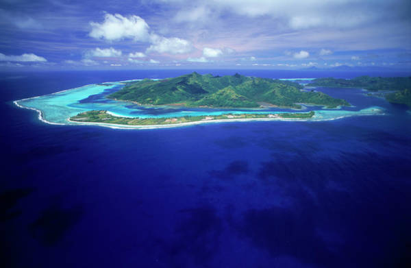 Photograph - Aerial Huahine, French Polynesia Blue by Chad Ehlers