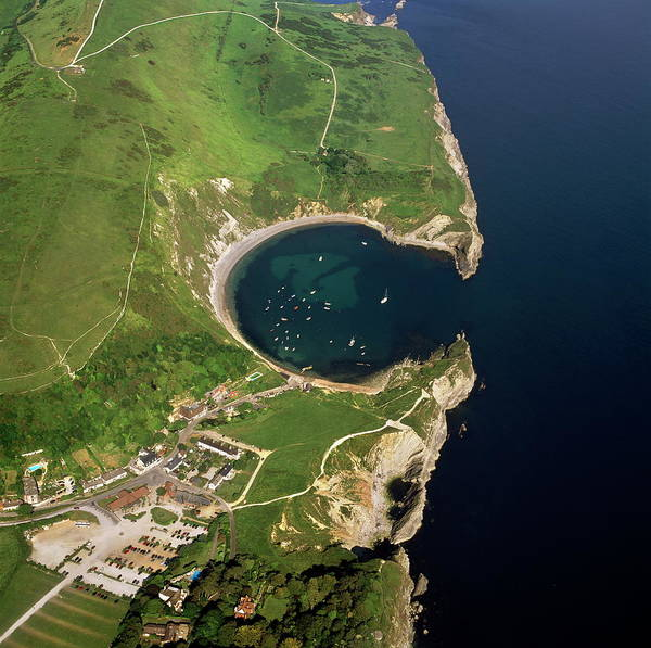 North Coast Harbor Photograph - Aerial Image Of Lulworth Cove, A by Last Refuge / Robertharding