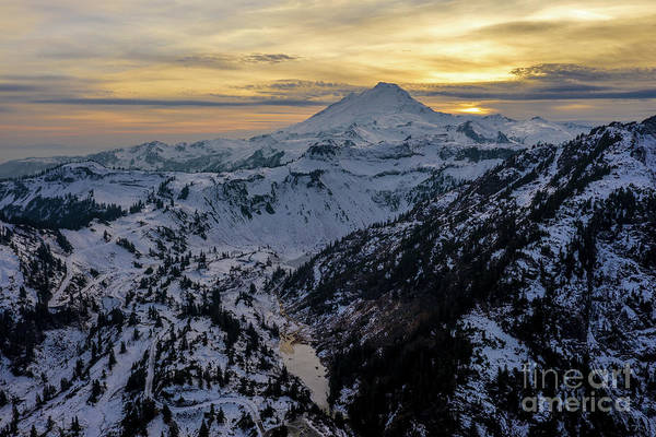 Wall Art - Photograph - Aerial Mount Baker Dusk Snowscape by Mike Reid