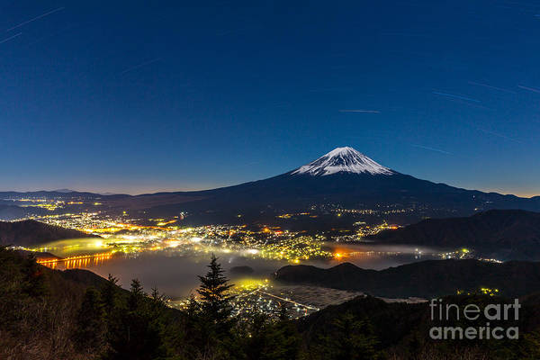 Mt Wall Art - Photograph - Aerial Mount Fuji With Kawaguchiko Lake by Vichie81