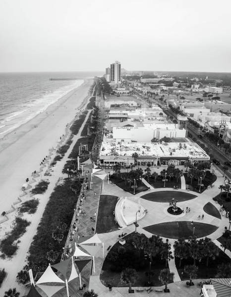 Photograph - Aerial Myrtle Beach Black And White by Dan Sproul