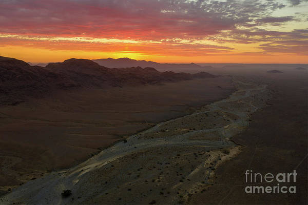 Wall Art - Photograph - Aerial Namibian Desert Dry Riverbed Sunset by Mike Reid