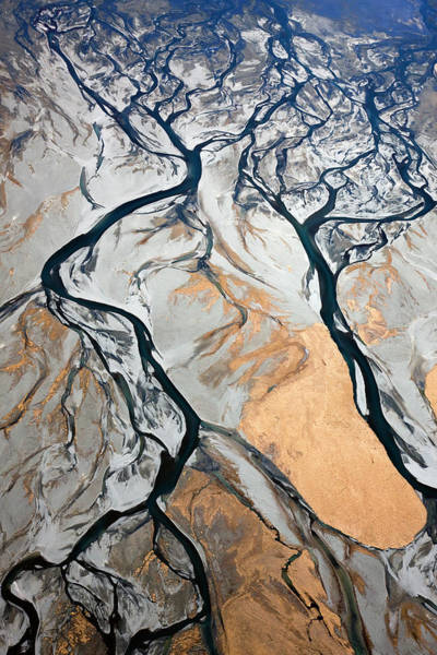 Moraine Lake Photograph - Aerial Of Braided, Glacial River by David Clapp