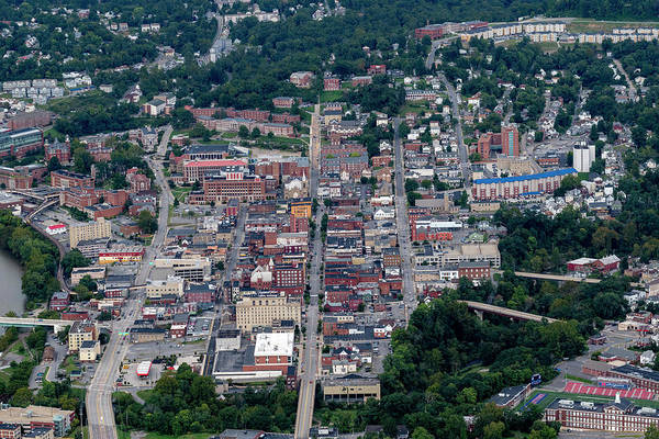 Photograph - Aerial Of Downtown Morgantown Showing High Street by Dan Friend