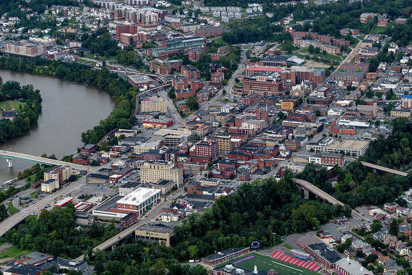 Photograph - Aerial Of Downtown Morgantown With River by Dan Friend