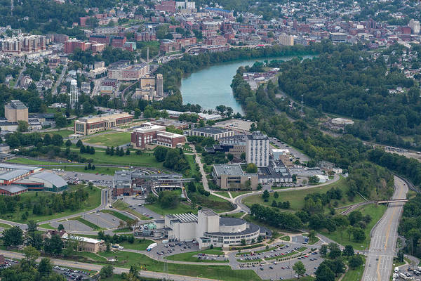 Photograph - Aerial Of Evansdale Campus With River by Dan Friend