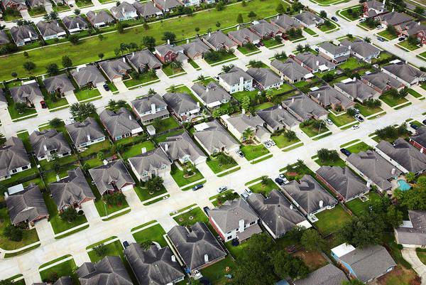 Texas A Photograph - Aerial Of Houston Neighborhood by Thomas Northcut