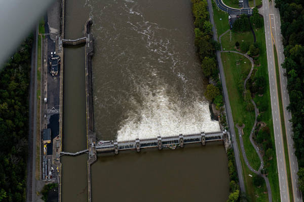 Photograph - Aerial Of Lock And Dam Morgantown West Virginia by Dan Friend