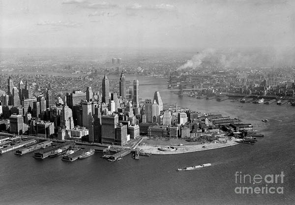 Photograph - Aerial Of Lower Manhattan by New York Daily News Archive