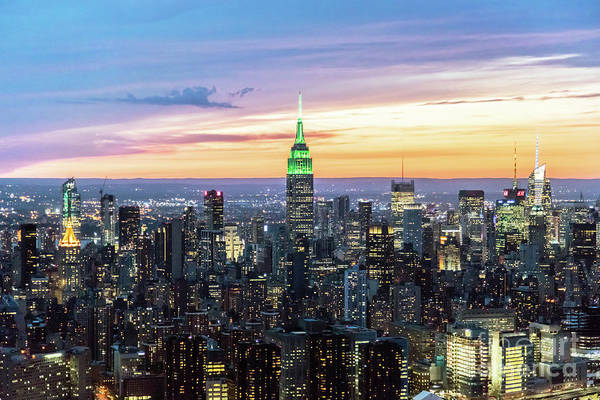 Wall Art - Photograph - Aerial Of Manhattan Skyline At Dusk, New York City by Matteo Colombo