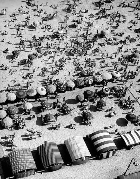 New Jersey Photograph - Aerial Of People Relaxing On Beach by Alfred Eisenstaedt
