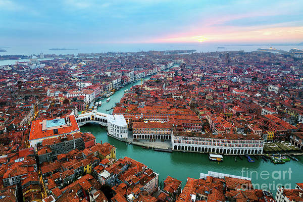 Wall Art - Photograph - Aerial Of Rialto Bridge At Sunset, Venice by Matteo Colombo
