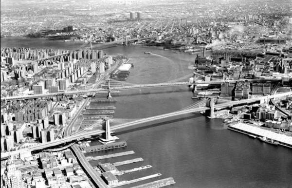 Williamsburg Bridge Photograph - Aerial Of The Bottom To Top Brooklyn by New York Daily News Archive