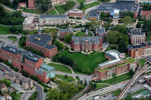 Photograph - Aerial Of Woodburn Hall Surrounding Buildings Downtown Campus Area And Prt by Dan Friend