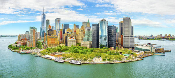 Photograph - Aerial Panorama Of Downtown New York Skyline by Mihai Andritoiu