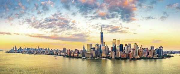 Wall Art - Photograph - Aerial Panorama Of New York City Skyline At Sunset by Mihai Andritoiu