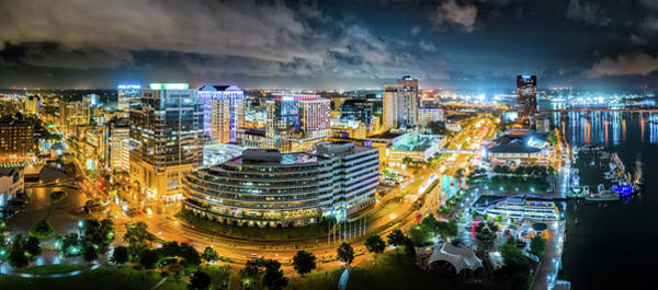 Wall Art - Photograph - Aerial Panorama Of Norfolk, Virginia By Night by Mihai Andritoiu
