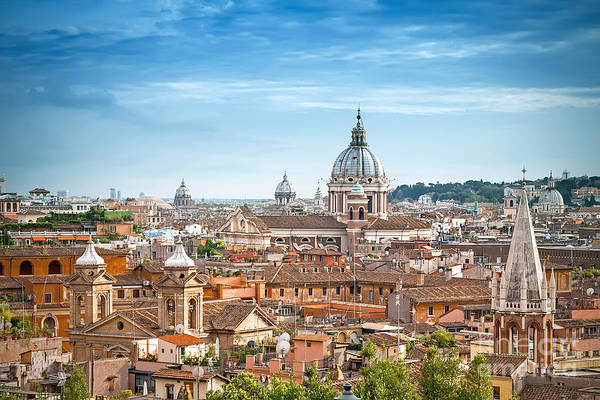 Historic Monument Wall Art - Photograph - Aerial Panoramic Cityscape Of Rome by Mariia Golovianko