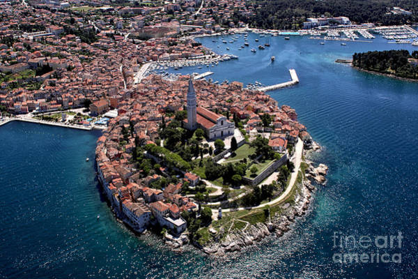 Medieval Town Photograph - Aerial Shoot Of Old Town Rovinj, Istra by Igor Karasi