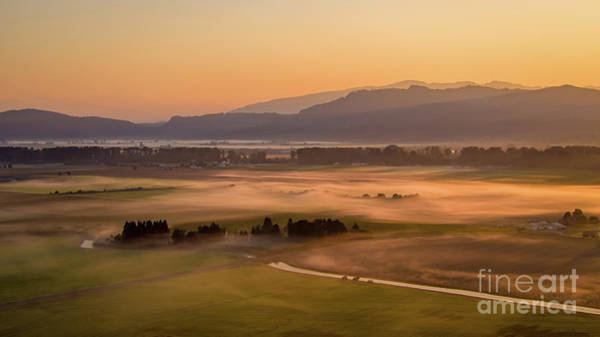 Wall Art - Photograph - Aerial Skagit Photography Sunrise Fog by Mike Reid
