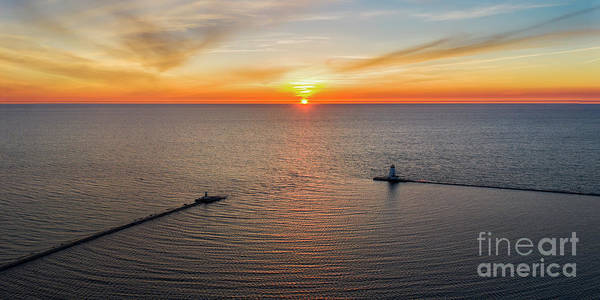 Download Photograph - Aerial Sunset In Ludington by Twenty Two North Photography