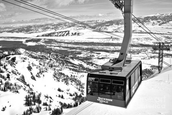 Photograph - Aerial Tram At Jackson Hole Black And White by Adam Jewell