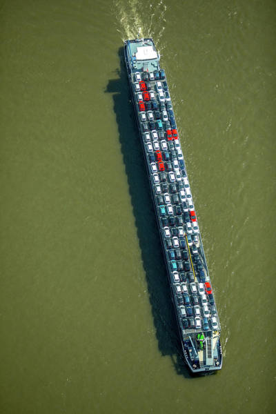 Wall Art - Photograph - Aerial View Cargo Ship With Cars On The Rhine Inland Waterway Duisburg Ruhr Area North by imageBROKER - Hans Blossey