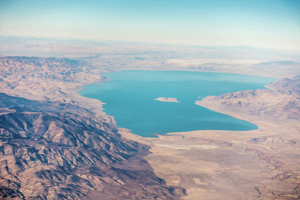 Photograph - Aerial View From Plane Of Pyramid Lake Over Nevada by Alex Grichenko