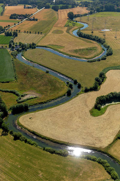 Wall Art - Photograph - Aerial View Meandering River Lippe Lippeau Between Dolberg And Hamm-uentrop Water Reflex Nature by imageBROKER - Hans Blossey