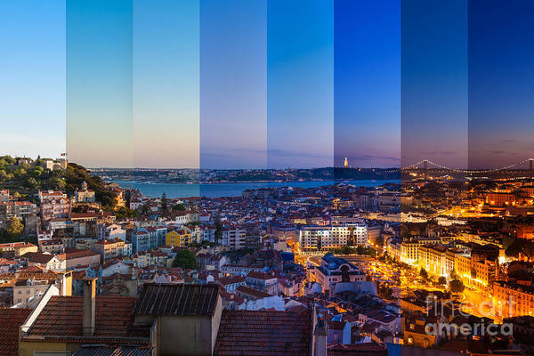 Wall Art - Photograph - Aerial View Montage Of Lisbon Rooftop by Samuel Borges Photography