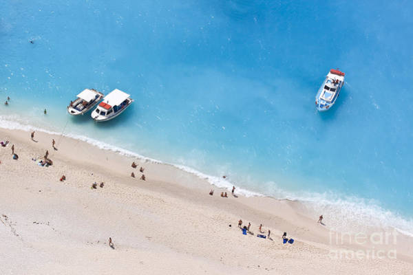 Aerial View Of A Beach With Some Art Print