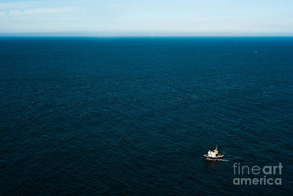 Wall Art - Photograph - Aerial View Of A Lonely Boat In The by Alberto Pérez Veiga