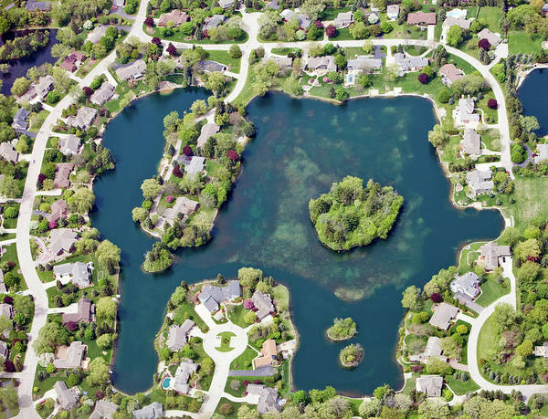 Villa Photograph - Aerial View Of A Residential by Banksphotos