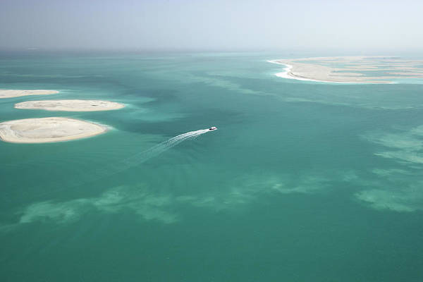 Luxury Yacht Photograph - Aerial View Of Boat Navigating Through by Motivate Publishing