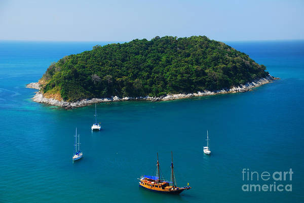 Yacht Wall Art - Photograph - Aerial View Of Boat Near Phuket Island by Lkunl